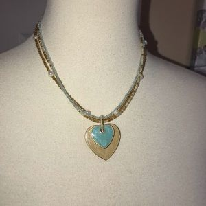 Double heart pendant dangle necklace 💙